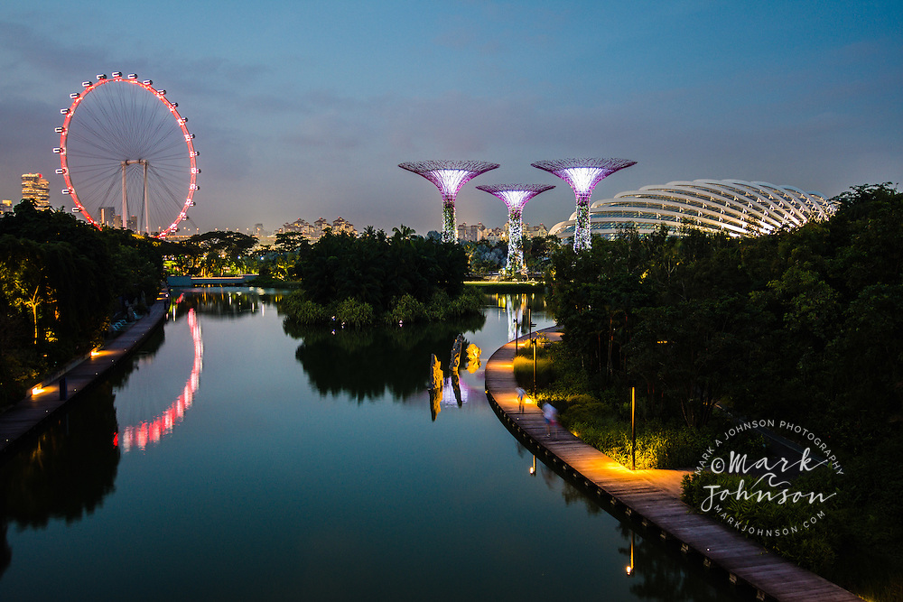 From left to right: Singapore Flyer Ferris Wheel, Silver Garden, and Flower Dome, all reflected in Dragonfly Lake, Gardens by the Bay, Singapore