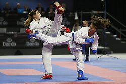November 10, 2018 - Madrid, Madrid, Spain - Russian karateka Victoria Isaeva seen fighting with Azerbaijani karateka Irina Zaretska to competes for the Gold Medal during the Kumite female -68kg final competition of the 24th Karate World Championships at the WiZink centre in Madrid (Credit Image: © Manu Reino/SOPA Images via ZUMA Wire)