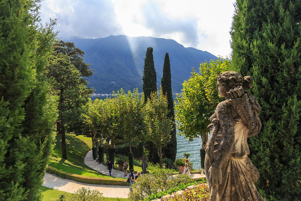 Villa Balbianello sits on the small peninsula of Dosso d'Avedo on Lago di Como, Italy.