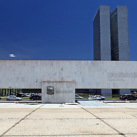 South America, Brazil, Brasilia. Monument to Juscelino Kubitschek in Three Powers Square.