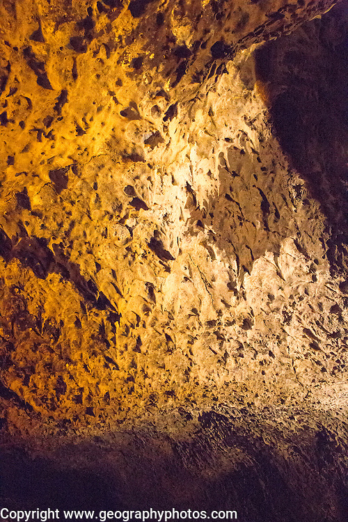 Lava stalactites on cave roof, Cueva de Los Verdes, cave tourist attraction in lava pipe tunnel, Lanzarote, Canary Islands, Spain
