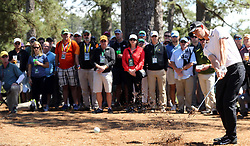 Thomas Pieters hits from the pine straw in the woods on the 1st fairway during the third round of the Masters Tournament at Augusta National Golf Club in Augusta, Ga., on Saturday, April 8, 2017. (Photo by Curtis Compton/Atlanta Journal-Constitution/TNS) *** Please Use Credit from Credit Field ***