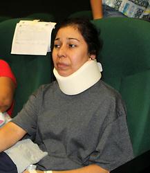 August 1, 2018 - EUM20180731NAC49.JPG.DURANGO, Dgo.- Accident/Accidente-Avión.- 31 de Julio 2018.- Todo  iba bien a bordo del avión Embraer que la llevaría a la Ciudad de México, recuerda María Guadalupe Herrera. Y todo pasó muy rápido. ''Duró como dos minutos en el aire y bajó'', rememora  María  para EL UNIVERSAL desde el auditorio del Hospital 450 de Durango, donde está sentada y lleva un collarín por una lesión. Foto: Agencia EL UNIVERSAL/RCC. (Credit Image: © El Universal via ZUMA Wire)
