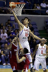QUEZON Quezon City, May 13, 2017  Troy Rosario of the Philippines (Top) competes against Delvin Goh Kok Chiang of Singapore (Bottom) during their match in the 2017 SEABA senior men's championship tournament in Quezon City, the Philippines, May 13, 2017. The Philippines won, 113-66.  2017?5?13? (Credit Image: © Rouelle Umali/Xinhua via ZUMA Wire)