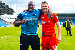 Adebayo Akinfenwa of Wycombe Wanderers and Matthew Bloomfield of Wycombe Wanderers - Mandatory by-line: Ryan Crockett/JMP - 28/04/2018 - FOOTBALL - Proact Stadium - Chesterfield, England - Chesterfield v Wycombe Wanderers - Sky Bet League Two