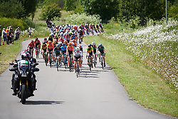 Jostling for position near the from of the bunch at Stage 2 of 2019 OVO Women's Tour, a 62.5 km road race starting and finishing in the Kent Cyclopark in Gravesend, United Kingdom on June 11, 2019. Photo by Sean Robinson/velofocus.com