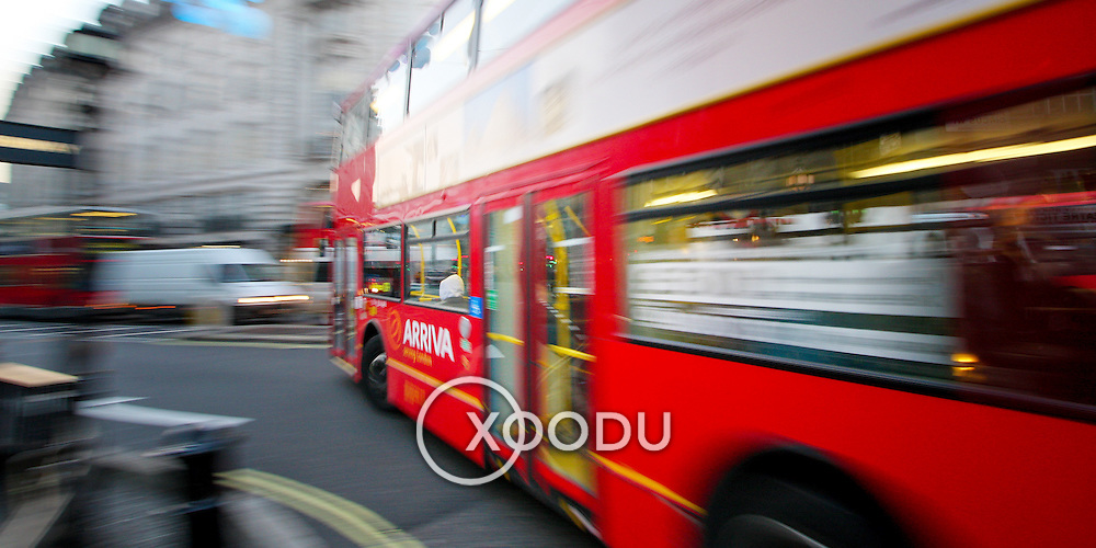 Red London bus in Piccadilly Circus, London, England (December 2007)