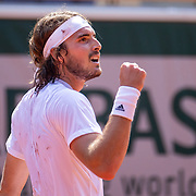PARIS, FRANCE June 11.   Stefanos Tsitsipas of Greece reacts during his match against Alexander Zverev of Germany on Court Philippe-Chatrier during the semi finals of the singles competition at the 2021 French Open Tennis Tournament at Roland Garros on June 11th 2021 in Paris, France. (Photo by Tim Clayton/Corbis via Getty Images)