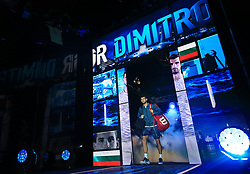 Grigor Dimitrov walks out to face Jack Sock during day seven of the NITTO ATP World Tour Finals at the O2 Arena, London.