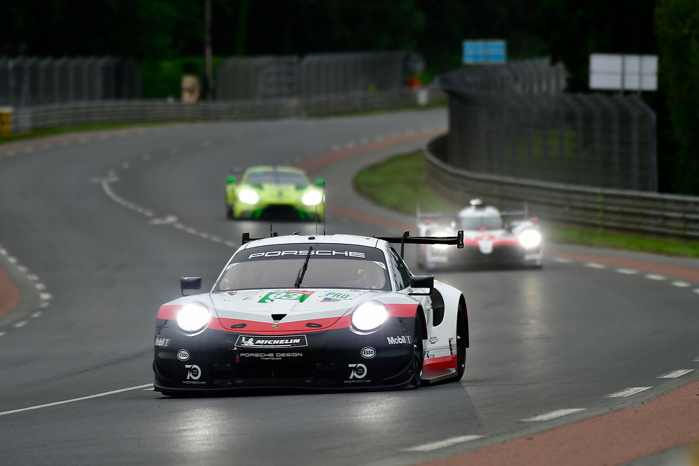 #93 Porsche GT Team Porsche 911 RSR: Patrick Pilet, Nick Tandy, Earl Bamber<br /> Thursday 14 June 2018<br /> 24 Hours of Le Mans<br /> 2018 24 Hours of Le Mans<br /> Circuit de la Sarthe  FR<br /> World Copyright: Scott R LePage