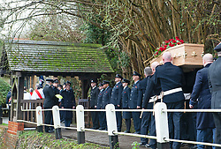 ©Licensed to London News Pictures 30/01/2020<br /> Orpington, UK. Firefighters carrying the coffin into the church past a guard of honour. The Funeral of thirty three year old father-of-four and firefighter Anthony Knott at Saint Giles the Abbot Church, Orpington, Kent.  His body was found in the water at Denton Island, Sussex three weeks after he went missing on a night out in Lewes, East Sussex in December 2019. Photo credit: Grant Falvey/LNP