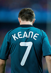 MADRID, SPAIN - Wednesday, October 22, 2008: Liverpool's Robbie Keane in action against Club Atletico de Madrid during the UEFA Champions League Group D match at the Vicente Calderon. (Photo by David Rawcliffe/Propaganda)