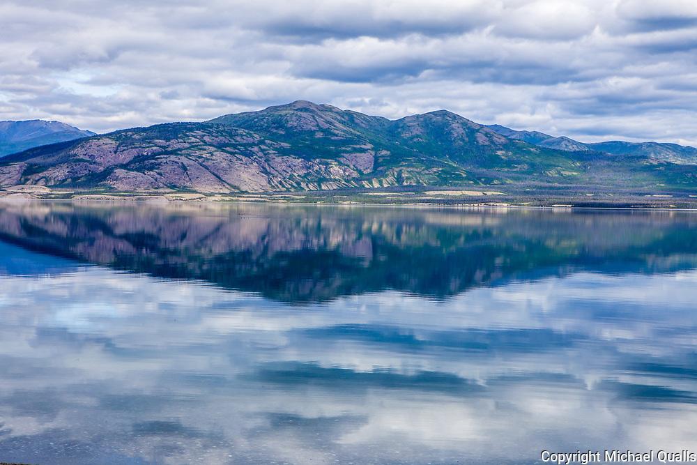 North America, Canada, Yukon Territory, Destruction Bay, Kluane National Park and Reserve.  Clouds over Kluane Lake