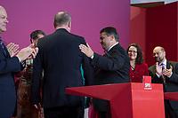 22 SEP 2013, BERLIN/GERMANY:<br /> Peer Steinbrueck (L), SPD Kanzlerkandidat, und Sigmar Gabriel (R), SPD Parteivorsitzender, nach einem ersten Statement zum Wahlergebnis, Wahlabend der SPD, Bundestagswahl 2013, Willy-Brandt-Haus<br /> IMAGE: 20130922-01-066<br /> KEYWORDS: Wahlparty, election party, Peer Steinbrück, Applaus, applaudieren, klatschen, Jubel, Schulter klopfen