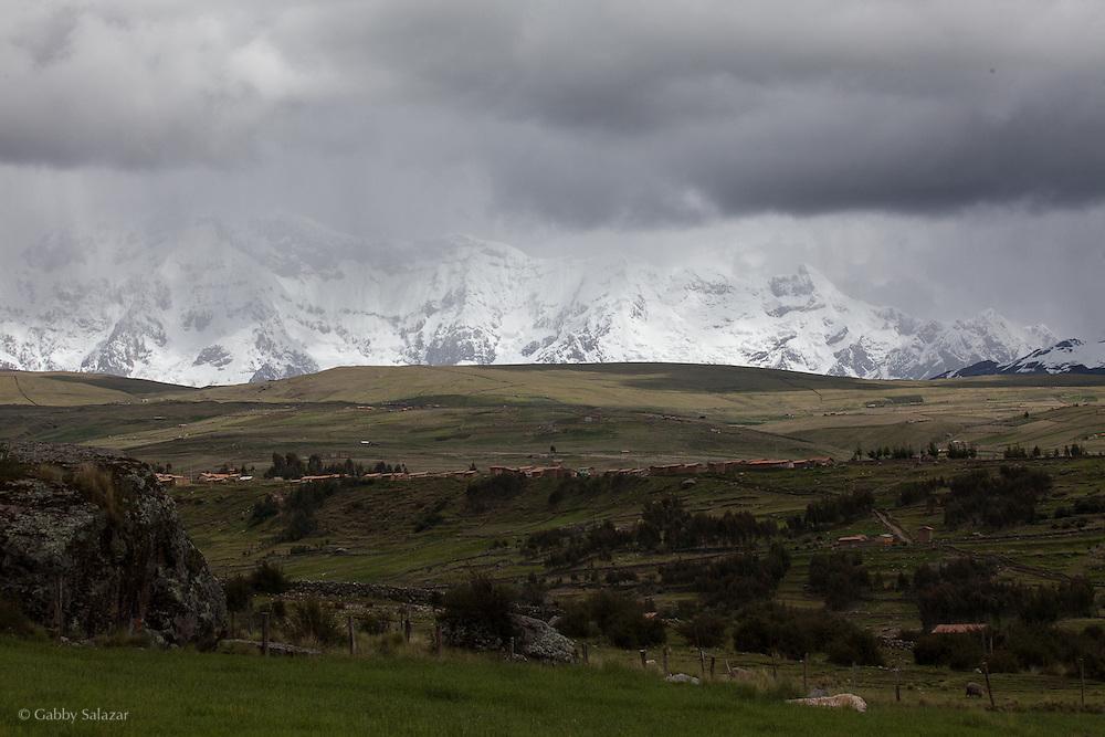 Ausungate Mountain near Tinqui, Peru along the Interoceanica Sur highway between Cusco and Puerto Maldonado, Peru. A 430 kilometer section of the transcontinental Interoceanic Highway that crosses Peru and Brazil.
