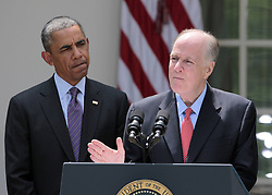 59781731 <br /> Outgoing U.S. National Security Adviser Tom Donilon (R) speaks during a White House ceremony in Washington D.C., the United States, June 5, 2013. U.S. President Barack Obama on Wednesday tapped UN ambassador Susan Rice to be the next national security advisor, taking the post vacated by Tom Donilon, who has resigned, DC, USA , June 5, 2013 .UK ONLY