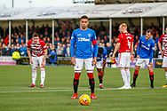 Rangers Captian James Tavernier composes himself ahead of the penalty during the Ladbrokes Scottish Premiership match between Hamilton Academical FC and Rangers at The Hope CBD Stadium, Hamilton, Scotland on 24 February 2019.