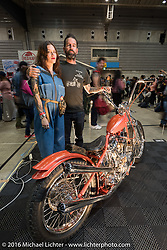 Max Schaaf with his custom Panhead at the Mooneyes Yokohama Hot Rod & Custom Show. Yokohama, Japan. December 4, 2016.  Photography ©2016 Michael Lichter.