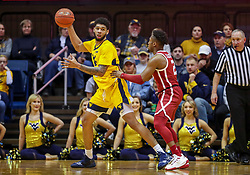 Feb 2, 2019; Morgantown, WV, USA; West Virginia Mountaineers forward Esa Ahmad (23) catches a pass during the first half against the Oklahoma Sooners at WVU Coliseum. Mandatory Credit: Ben Queen-USA TODAY Sports