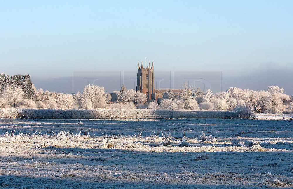 (Tue) 7th December 2010.After a day of freezing fog and a night where temperatures pulmmeted to -10, the next morning produced a beautiful frost covered landscape; Brinklow Church, Warwickshire © under license to London News Pictures.