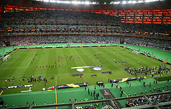 A general view of Arsenal and Chelsea players warming up ahead of the match during the UEFA Europa League final at The Olympic Stadium, Baku, Azerbaijan.