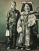 King and Queen of Sikkim, India, postcard circa 1920
