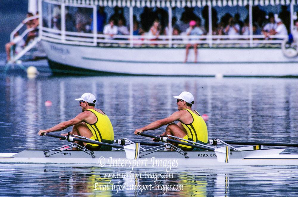 Barcelona Olympics 1992 - Lake Banyoles, SPAIN, AUS M2X  stroke, ANTONIE Peter,<br /> HAWKINS Stephen Mark,  Photo: Peter Spurrier
