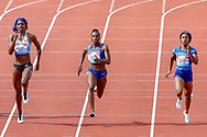 Shaunae Miller-Uibo (Bahamas), Dina Asher-Smith (Great Britain), Shelly-Ann Fraser-Pryce (Jamaica), Women's 200m, during the Muller Grand Prix at the Alexander Stadium, Birmingham, United Kingdom on 18 August 2019.
