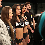 FORT LAUDERDALE, FL - FEBRUARY 15: The BKFC ring girls are seen during the Bare Knuckle Fighting Championships at Greater Fort Lauderdale Convention Center on February 15, 2020 in Fort Lauderdale, Florida. (Photo by Alex Menendez/Getty Images) *** Local Caption ***