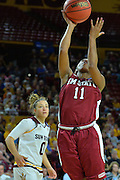 March 18, 2016; Tempe, Ariz;  New Mexico State Aggies guard Shanice Davis (11) gets a layup during a game between No. 2 Arizona State Sun Devils and No. 15 New Mexico State Aggies in the first round of the 2016 NCAA Division I Women's Basketball Championship in Tempe, Ariz. The Sun Devils defeated the Aggies 74-52.