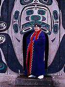 Tlingit elder Marge Byrd of the Kik.setti Clan in entrance to Chief Shakes Tribal House, Shakes Island, Wrangell, Alaska.