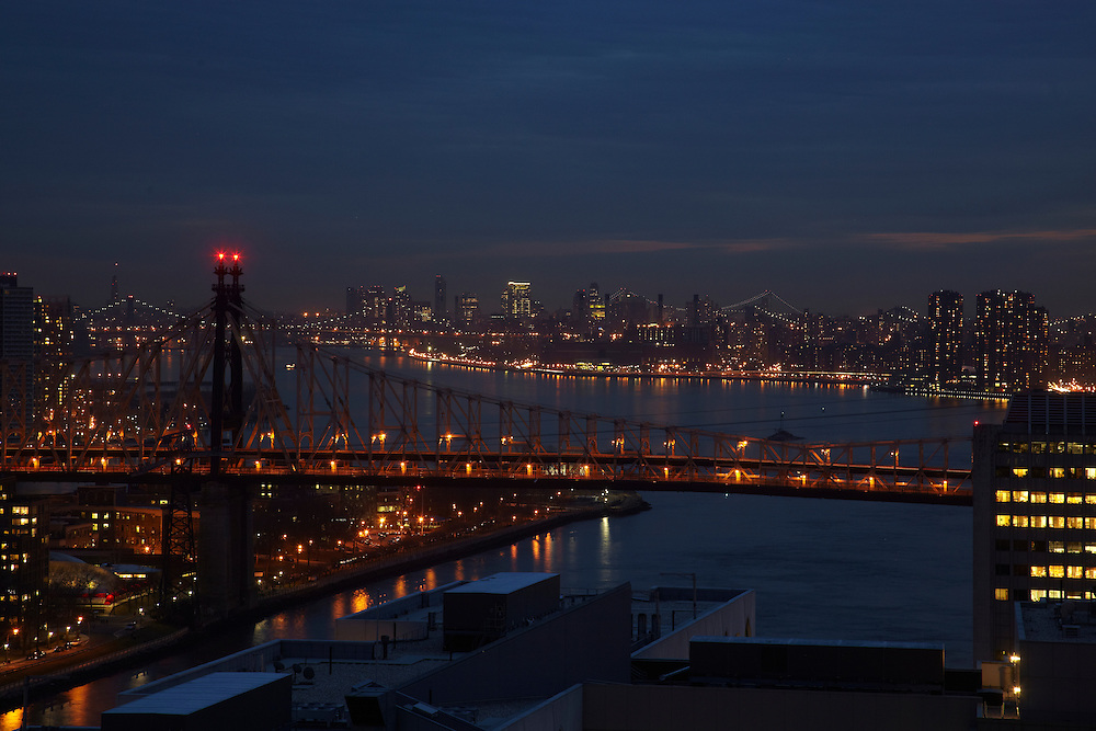 Night view of the East River and 59th Street bridge from 524 East 72nd Street, 34th floor