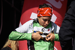 Sheyla Gutierrez, dons the best young rider jersey - Grand Prix de Dottignies 2016. A 117km road race starting and finishing in Dottignies, Belgium on April 4th 2016.