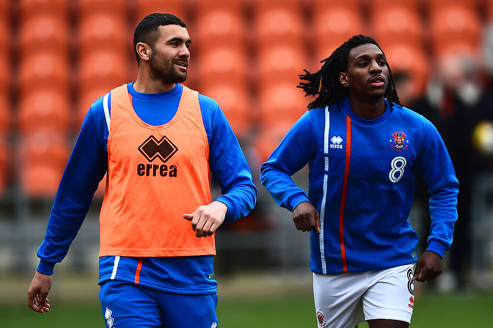 Blackpool's Colin Daniel warms up with Sessi D'Almeida<br /> <br /> Photographer Richard Martin-Roberts/CameraSport<br /> <br /> The EFL Sky Bet League One - Blackpool v Peterborough United - Sunday 18th February 2018 - Bloomfield Road - Blackpool<br /> <br /> World Copyright © 2018 CameraSport. All rights reserved. 43 Linden Ave. Countesthorpe. Leicester. England. LE8 5PG - Tel: +44 (0) 116 277 4147 - admin@camerasport.com - www.camerasport.com