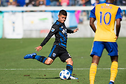 October 21, 2018 - San Jose, California, United States - San Jose, CA - Sunday October 21, 2018: Eric Calvillo during a Major League Soccer (MLS) match between the San Jose Earthquakes and the Colorado Rapids at Avaya Stadium. (Credit Image: © Lyndsay Radnedge/ISIPhotos via ZUMA Wire)
