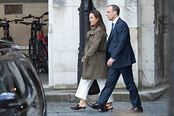 © Licensed to London News Pictures. 02/10/2019. London, UK. Foriegn Secretary Dominic Raab (r) walks in Parliament with an unidentified woman after standing in for the Prime Minister at PMQs. Photo credit: George Cracknell Wright/LNP