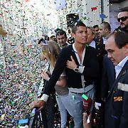 Real Madrid's Cristiano RONALDO with Turkish soccer Club Besiktas president Yildirim DEMIROREN (R) came to istanbul, Turkey, 18 June 2011. Photo by TURKPIX