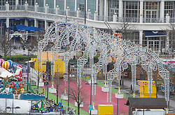 © Licensed to London News Pictures. 19/12/2020. <br /> Greenhithe, UK. A closed Winterland. Some empty car parks at Bluewater in Kent today as it has to close the Winterland attraction amid Coronavirus fears. Photo credit:Grant Falvey/LNP
