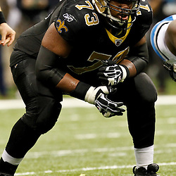 December 4, 2011; New Orleans, LA, USA; New Orleans Saints guard Jahri Evans (73) against the Detroit Lions during a game at the Mercedes-Benz Superdome. The Saints defeated the Lions 31-17. Mandatory Credit: Derick E. Hingle-US PRESSWIRE