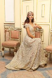 Napoli Presentation new issue of Pink Life magazine cover Raffaella Modugno wearing a dress of the designer Bruno Caruso.