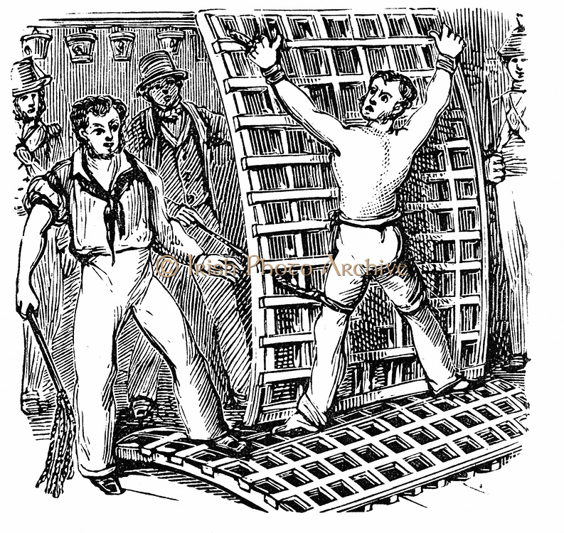 Naval discipline: British sailor, tied to the grating, being flogged with Cat-O-Nine-Tails. In 1867 Parliament abolished flogging in the armed services. 19th century wood engraving.