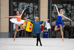 Edinburgh, Scotland, UK. 24 June 2021. First images of the new St James Quarter which opened this morning in Edinburgh. The large retail and residential complex replaced the St James Centre which occupied the site for many years. Pic; dancers perform outside at official opening. Iain Masterton/Alamy Live News