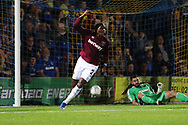 West Ham United defender Angelo Ogbonna (21) celebrating after scoring goal to make it1-2 during the EFL Carabao Cup 2nd round match between AFC Wimbledon and West Ham United at the Cherry Red Records Stadium, Kingston, England on 28 August 2018.