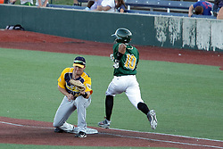 08 July 2017:  John Montgomery Yeixon Ruiz during a Frontier League Baseball game between the Traverse City Beach Bums and the Normal CornBelters at Corn Crib Stadium on the campus of Heartland Community College in Normal Illinois