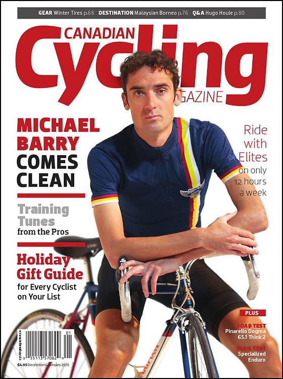 Portada de Canadian Cycling Magazine amb una foto del ciclista canadenc afincat a Girona, Michael Barry. Cyclism photography Girona.