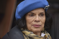 November 12, 2016 - Manchester, England, United Kingdom - Bianca Jagger, attends a protest rally against hydraulic fracturing, also known as 'fracking', on November 12, 2016 in Manchester, England. Hydraulic Fracturing is expected to take place in various locations around England, whilst the Northern Irish, Scottish and Welsh Governments has introduced moratoriums on the gas extraction method. Although fracking is a controversial form of energy extraction, due to environmental concerns, fracking is supposed to provide cheaper and more secure energy for the United Kingdom's domestic energy market. (Credit Image: © Jonathan Nicholson/NurPhoto via ZUMA Press)