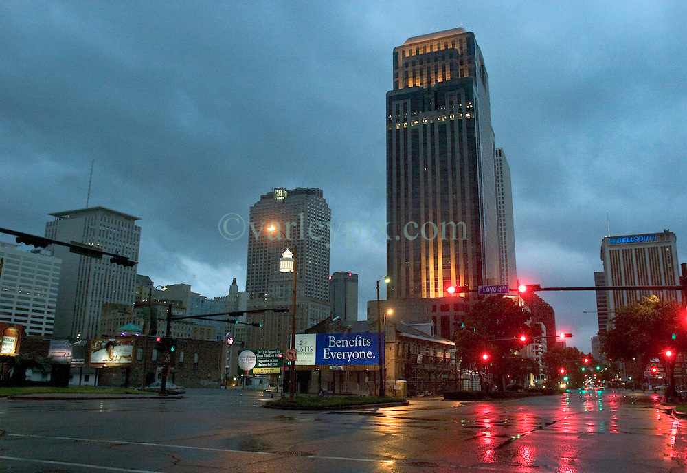 28th August, 2005. Hurricane Katrina, New Orleans, Louisiana. The eerily deserted streets of downtown New Orleans.