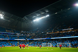 General View as Bristol City warm up in fron of the away end - Rogan/JMP - 09/01/2018 - Etihad Stadium - Manchester, England - Manchester City v Bristol City - Carabao Cup Semi Final First Leg.