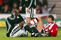 Photo: Scott Heavey, Digiatlsport<br /> NORWAY ONLY<br /> <br /> Southampton v Newcastle united. FA Barclaycard Premiership. 12/05/2004.<br /> Claus Lundekvam lays in agony after a challenge on Shola Ameobi