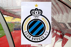 A general view of a Club Brugge Crest on display at Stade Louis II stadium prior to the beginning of the match